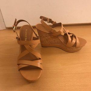 NWOT Tan Sandal Wedges